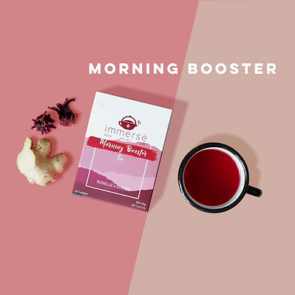 Roselle and Ginger tea - Introduction of Morning Booster (a caffiene-free tea helps you wake up fresh), immersé tea