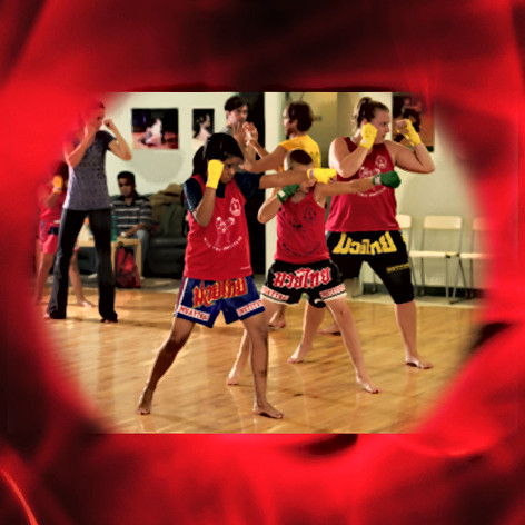 Students do a Muay Thai jab
