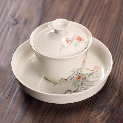 Peach Blossom Gaiwan & Plate   桃花蓋碗連碟