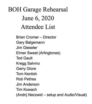 BOH Garage Rehearsal 2020 Attendee List.