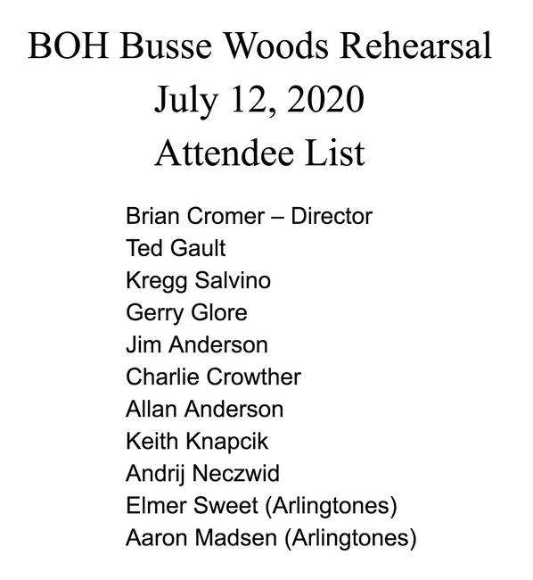 BOH Busse Woods Rehearsal 2020 Attendee