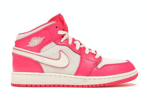 Air Jordan 1 Mid Hyper Pink White (GS)
