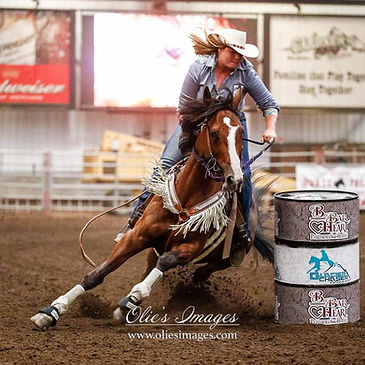 Crystal Moon Pitts barrel racing with Be