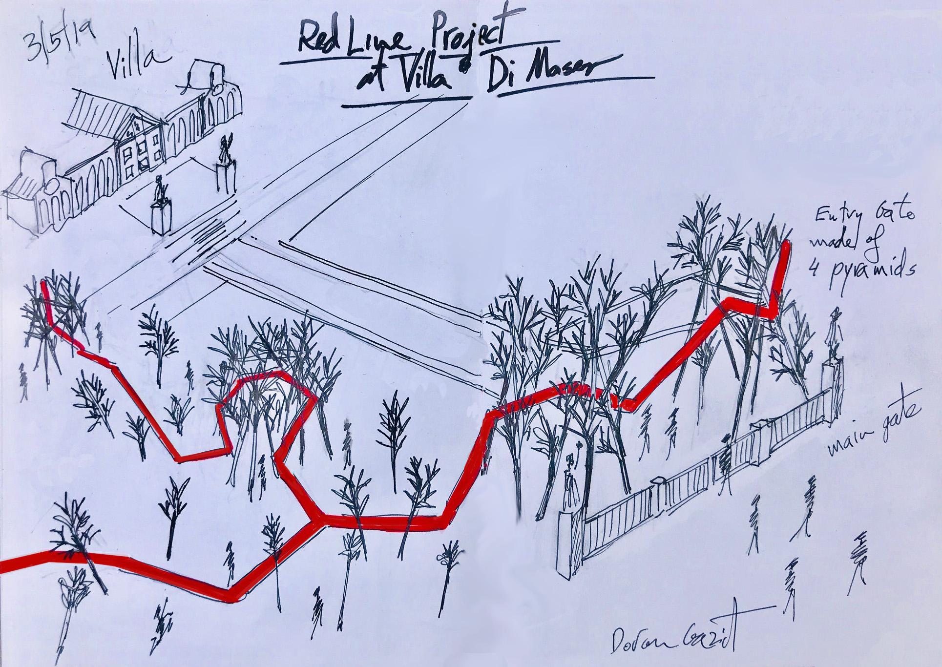 Sketch - Villa - entry gate + water pipe