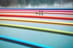 Lines on the Asahi river, Okayama, Japan