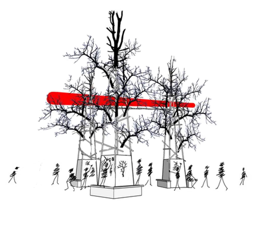 sketch of Burnt Trees and Red Line