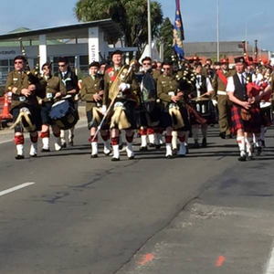 The Pipes and Drums of the 5th / 7th Battalion, Royal New Zealand Infantry Regiment lead the official parade, along High Street to the Victoria Cross Garden. Photograph by Judy Stockwell