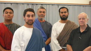 "Ross Jennings pictured on the far right, alongside the cast of his Good Friday 2015 passion play ""They Crucified him"": Seto Uti, Andrew Malele, Pio Iosefo, and Pio Faalogo."