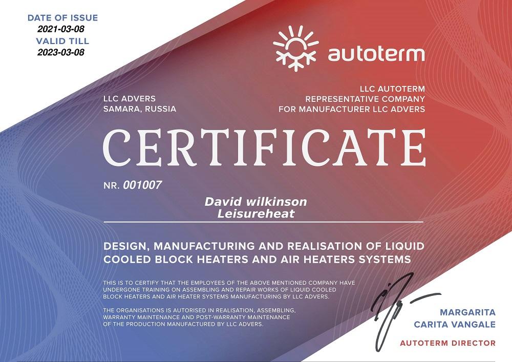 Autoterm Certificate