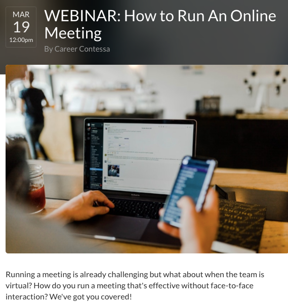 Career Contessa webinar on leading an online meeting
