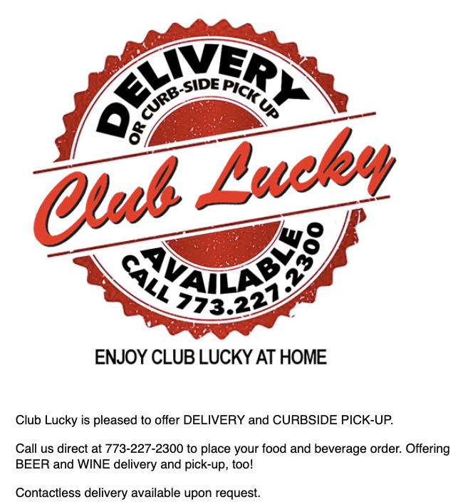 Club Lucky restaurant offers contactless delivery