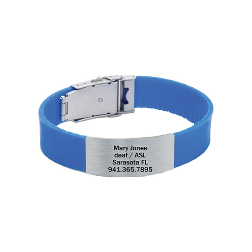its personal blue silicone bracelet