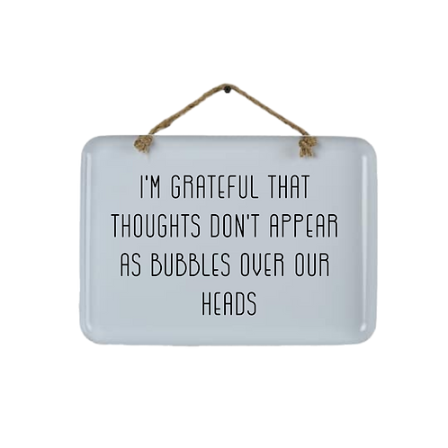 thought bubbles enamel wall sign