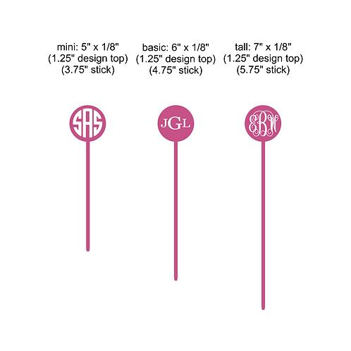 circle monogram stir stick - set of 6
