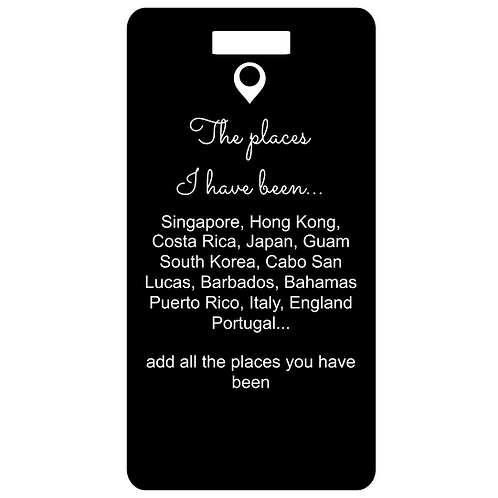the places metal bag and luggage tag