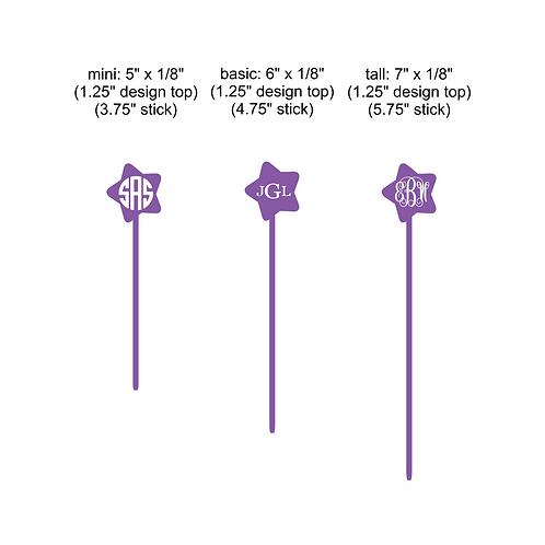 star monogram stir stick - set of 6