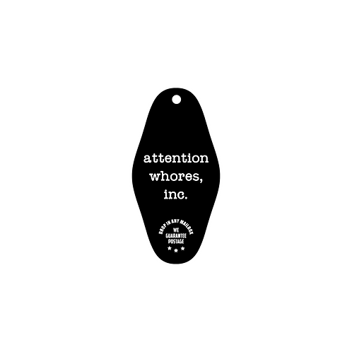 attention whores, inc. ID and key tag