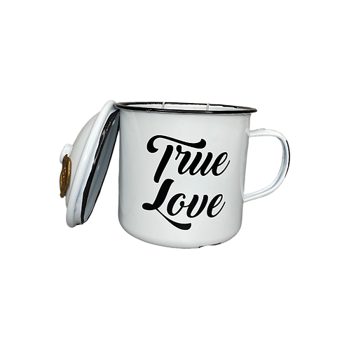true love scented candle - enamel mug