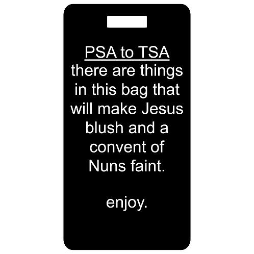 PSA to TSA metal bag and luggage tag