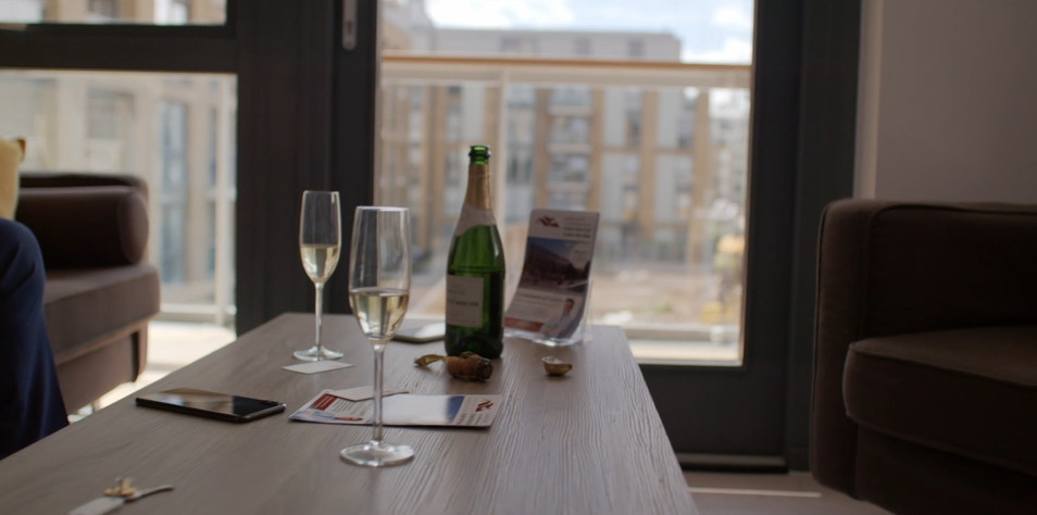 Champagne and Leaflet in Shot