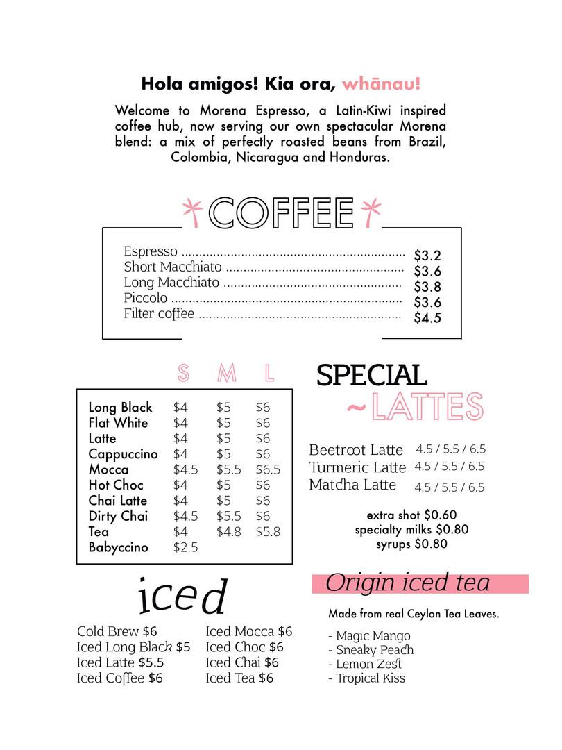 Morena Espresso - Menu 2