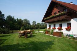Garten mit Leiterwagen