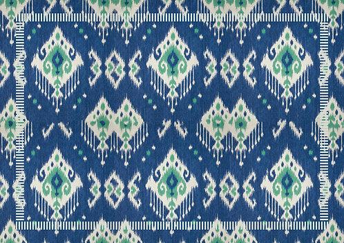Kit Jogo Americano Ikat Azul e Verde