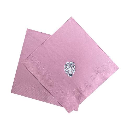 Kit Guardanapo de papel Folhas Rosa
