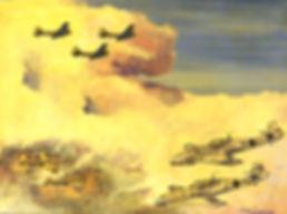 """'Messerschmitts at 3 o'clock' 24"""" x 18"""" Glazed oil original"""