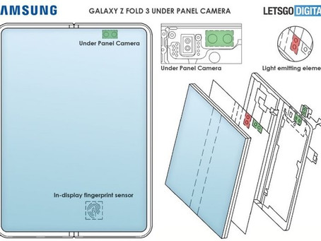 Galaxy Z fold 3 pode ter câmera e leitor de digital sob display segundo patente