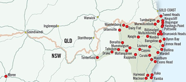 Map of Northen Rivers, NSW