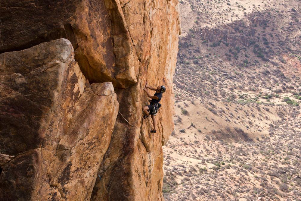 Climber on Skyline Buttress Morocco