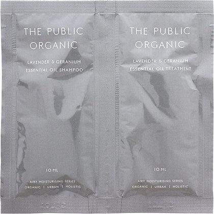 THE PUBLIC ORGANIC 蓬鬆保濕洗潤一日體驗組 薰衣草&天竺葵 10ml+10ml