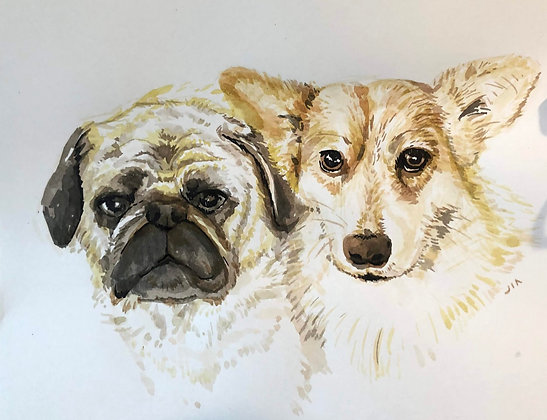 Two Watercolor Custom Portraits by Bayview Market Artist JiaJia Chen