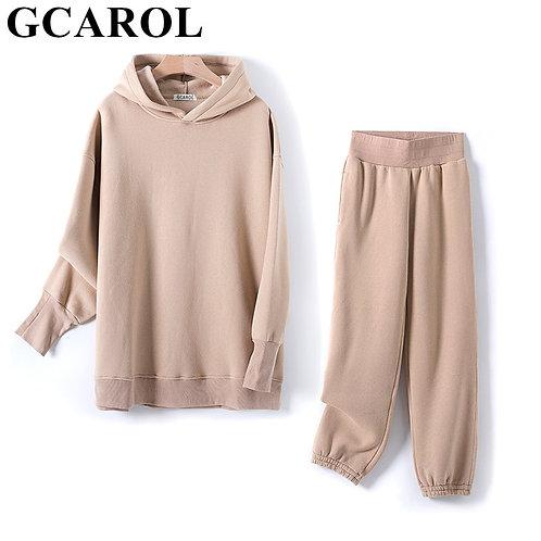 GCAROL Fall Winter Women Sets Extra Long Hooded Suits 80%Cotton Fleece Oversized