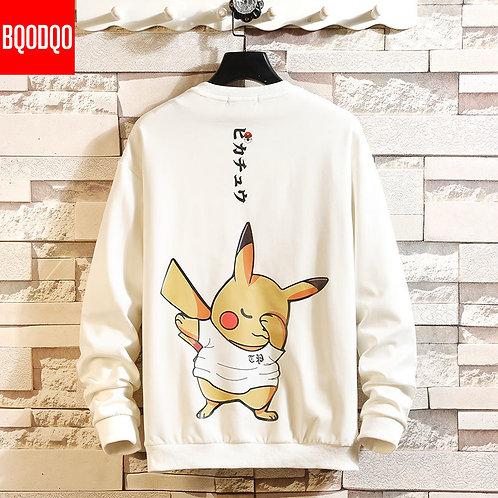 5XL Anime Hoodies Men Black Hooded Japanese Style Cartoon Sweatshirt Mens Hip Ho