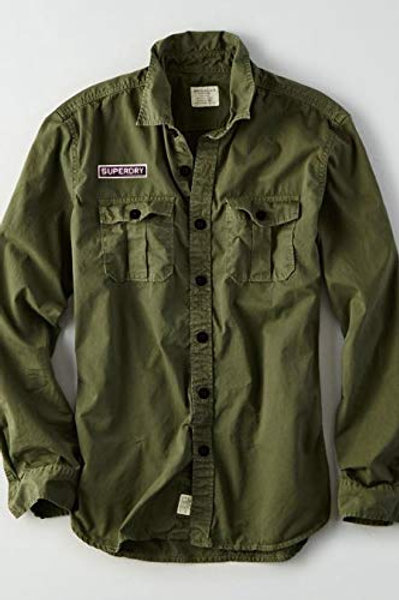 lazystore Solid Casual Premium Olive Green Shirt