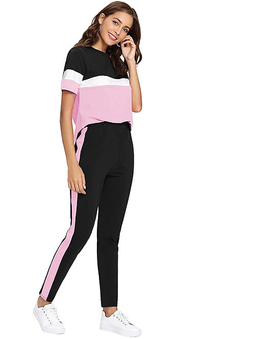 Shocknshop Black Colorblock Pink Striped Pullover Tee and Pant Tracksuit Set for