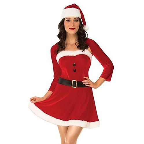 Women Christmas Solid O-neck Long Sleeve Velvet Terry Mini Dress+Belt+Hat Are yo