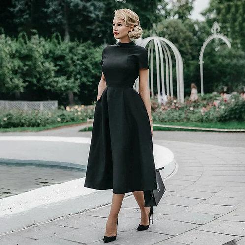 Elegant Black Dress Vintage Ladies Fit Flare Prom Party Night Formal Retro Dress