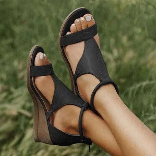 Women Summer Sandals Mid Heels Wedges Shoes Ladies Vintage PU Leather