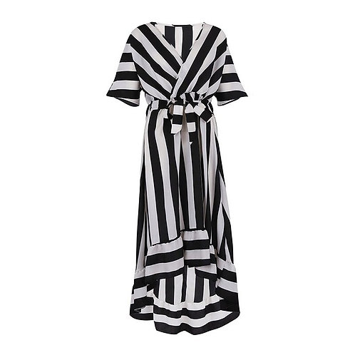 Summer Casual Striped V-Neck Short-Sleeved Dress Black And White Striped Dresses