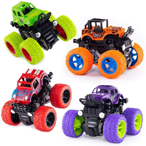 Farraige® 4 Pack 4WD Monster Truck Cars,Push and Go Toy Trucks Friction Powered