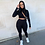 Thumbnail: 2020 Winter Women Sport Fitness 2 Two Piece Set Outfits Long Sleeve Crop Tops