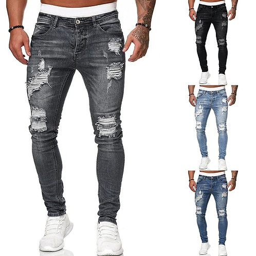 Men's Sweatpants Sexy Hole Jeans Autumn Male Ripped Skinny Trousers Slim pant
