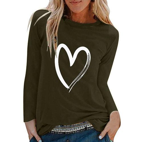 Winter O-neck Long Sleeve Top Loose T-shirt 3xl Basic Clothing Camisas De Moda