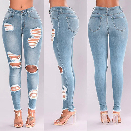 Denim Hole Female High Waist Stretch Slim Sexy Pencil Pants  Skinny Ripped Jeans