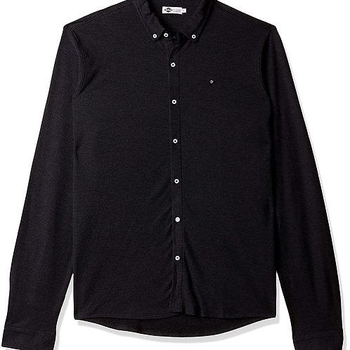 Lee Cooper Men'sSolid Regular Fit Casual Black Shirt