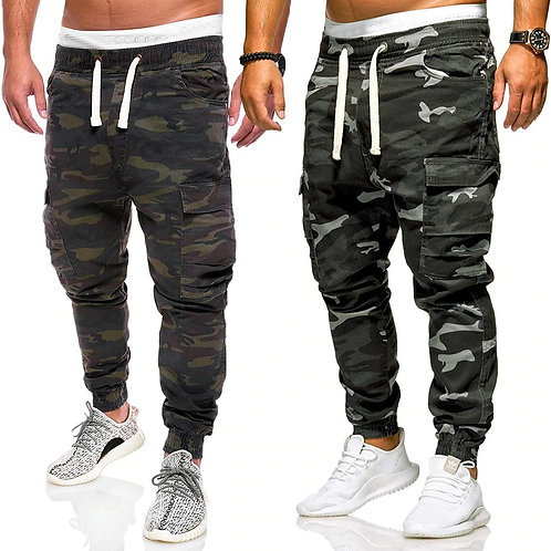 New Cargo Pants Men Fashion Loose Handsome Pocket Jeans Pants Tooling Camouflage