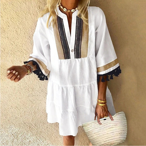 Fashion Plus Size Woman Dress Summer Dresses For Women V-neck Color Contrast Tas
